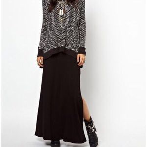 Free People Black Rayon Maxi Skirt